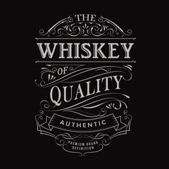 whiskey label hand drawn vintage typography blackboard border ve