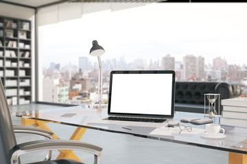 Creative office desktop closeup