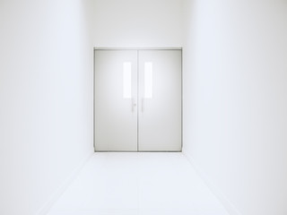 White door with Lighting architecture details Conceptual