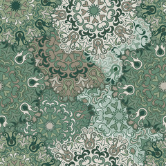 Seamless round ornament pattern for printing on fabric or paper.