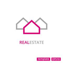 Vector Real Estate Logo icon Three House Silhouettes