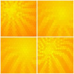 Set of polygonal sunbeam  background. Pattern design for banner, poster, brochure. Vector illustration.