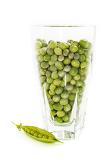 Glass of green peas