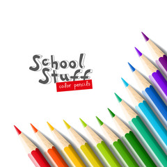 Color pencils isolated on white background.Close up. School equipment for painting and art. Vector realistic illustration.