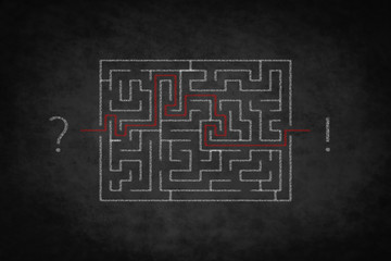 problem solving concept - question answer ,  labyrinth on chalkb