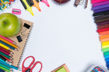 educationschool supplies on white background ready for your
