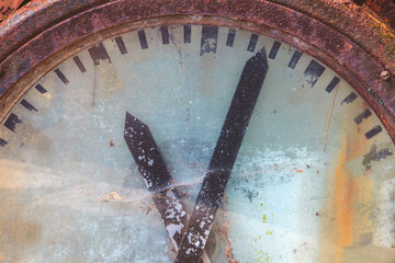 Close up of an old railway clock