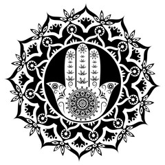 Hamsa or hand of Fatima black and white style, good luck charm, vector illustration