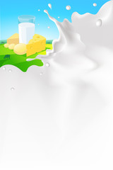 vector white splash milk illustration background with cheese and glass of milk in nature