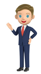 3D illustration character - A business man guides you.