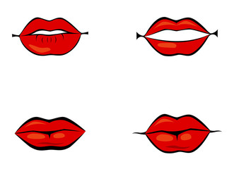 Red lips set, cartoon flat style vector illustration