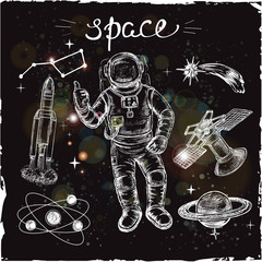 hand drawn set space