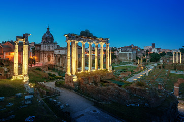 Roman Forum in Rome at sunset, Italy