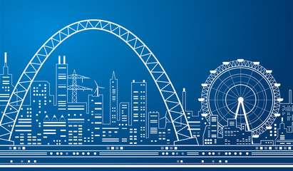 Neon city, white lines, night town, Ferris Wheel and Axle, vector design art