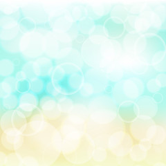 Colorful bokeh abstract vector background. Summer beach colors