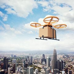 Photo Yellow Generic Design Remote Control Air Drone Flying Sky Empty Craft Box Under Urban Surface.Modern City Background.Online Orders Express Delivery.Square,Left Side View.Film Effect 3D rendering