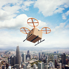 Photo Yellow Generic Design Remote Control Air Drone Flying Sky Empty Craft Box Under Urban Surface.Modern City Background.Global Logistic Express Delivery.Square,Top View.Film Effect.3D rendering.