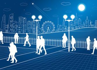 City scene, people walk in the park, ferris wheel, night town on background, vector design art