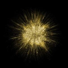 Gold glitter powder explosion. Golden color dust splash.