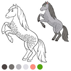 Coloring page. Color me: horse. Cute horse.