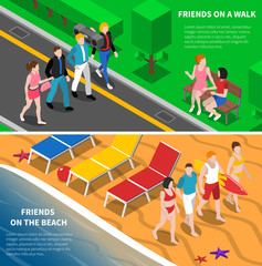 Friends Outdoor 2 Isometric Banners Composition