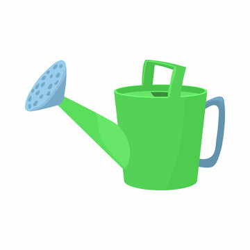 Green watering icon in cartoon style on a white background