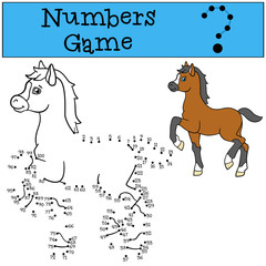Educational games: Numbers game. Little cute foal.