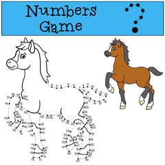Educational games: Numbers game with contour. Little cute foal.