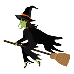 Witch flying with broomstick cartoon silhouette, vector illustration.