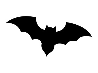 Bat black silhouette icon over white background, vector illustration.