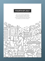 Independence Day - line design brochure poster template A4