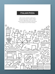 Italian Pizza - line design brochure poster template A4