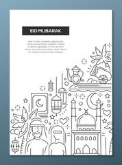 Eid Mubarak - line design brochure poster template A4