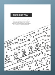 Business Team - line design brochure poster template A4