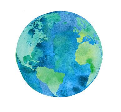 hand painted Earth globe. watercolor artwork
