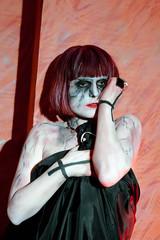 portrait of zombie girl in black dress