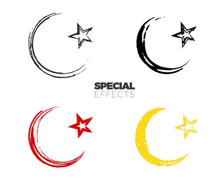 Hand drawn paint islamic symbol, simple Muslim sign sketch