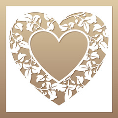 Openwork white frame with heart and leaves. Laser cutting templa