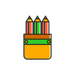 Pencil Case with Pencils Icon