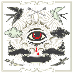 Set of vector Tattoo-art design elements.