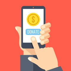 Gold coin and donate button on smartphone screen. Hand holds smartphone, finger touches screen. Modern charity, donation concepts. Flat design vector illustration