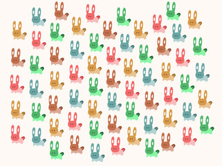 Colors Rabbits pattern, vector illustration