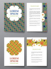 Cover brochure design. Arabic traditional decorative elements.