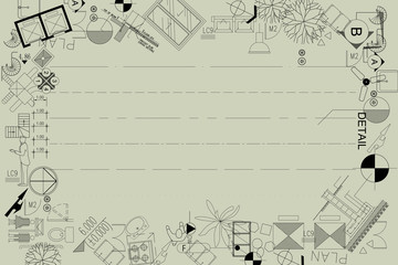 architecture drawing frame background vector