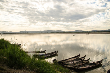 the local boats in Irrawaddy river, Myanmar