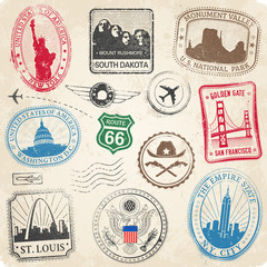 US Monuments Grunge Stamps