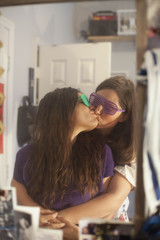 Affectionate young lesbian couple
