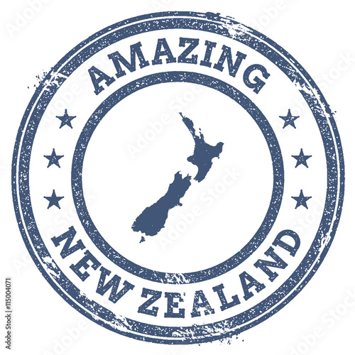 Vintage Amazing New Zealand Travel Stamp With Map Outline