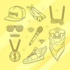 Set of attributes rap. Vector illustration