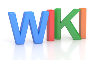 Wiki, colored inscription. 3D rendering